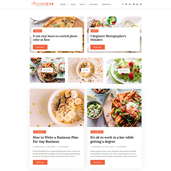 Best WordPress Themes for Blogging 2 column grid layout with featured and category slider