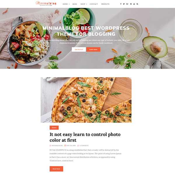 Best WordPress Themes for Blogging parallax header and single column layout.